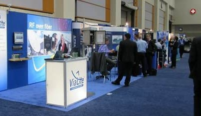 The ViaLite stand at Sat2014 during a rare quiet period.