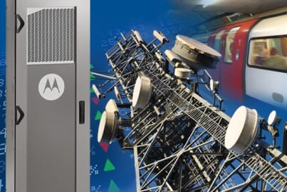Motorola Base Station, Cell Tower and tube/metro montage to convey the Cellular and Network Timing sector