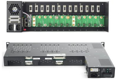 Rear views of ViaLite 3U and 1U rack chassis units