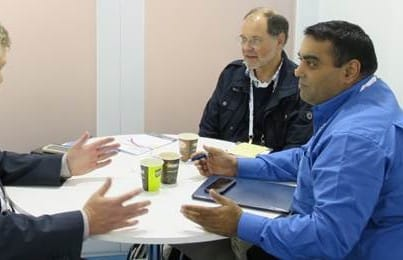 ViaLite Business Development Manager Amair Khan in a discussion at IBC 2014
