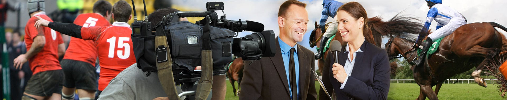 Cameraman films presenters using a wireless camera and wireless mic, at a number of sporting events