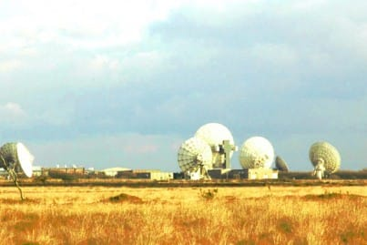 Goonhilly Earth Station with satellite dishes