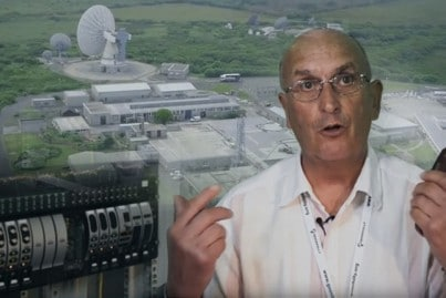 Goonhilly Earth Station installs RF over Fiber video - presenter, birds-eye view of Goonhilly and ViaLiteHD equipment