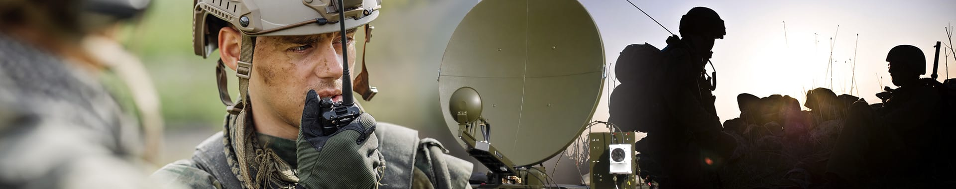 Montage showing a soldier speaking into a radio, a comms dish and soldier with a wireless pack - conveying the Government and Defence market