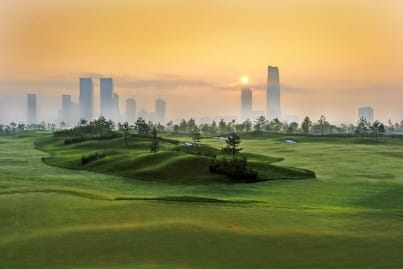 Jack Nicklaus Golf Course in Korea, view shows city backdrop