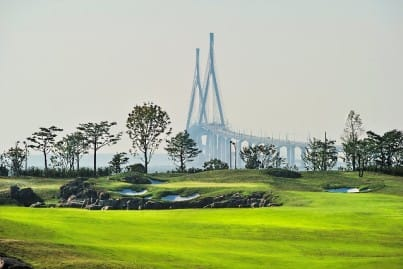 Jack Nicklaus Golf Course in Korea, view shows bridge