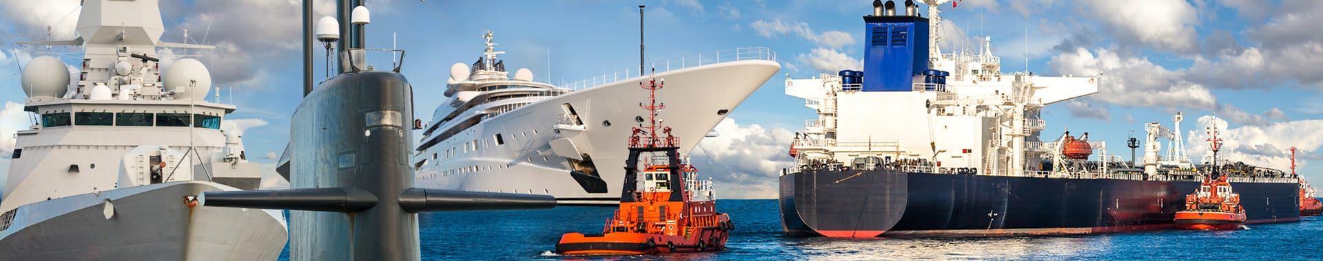 Yacht, vessels/ships and a submarine montage conveying the maritime market