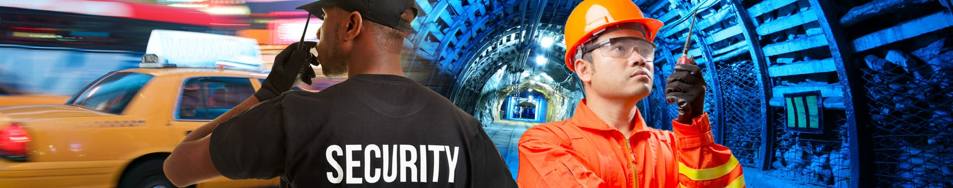 A security guard talking into a radio and a miner in a tunnel listening to a radio, montage conveys the Mining and Public Safety market