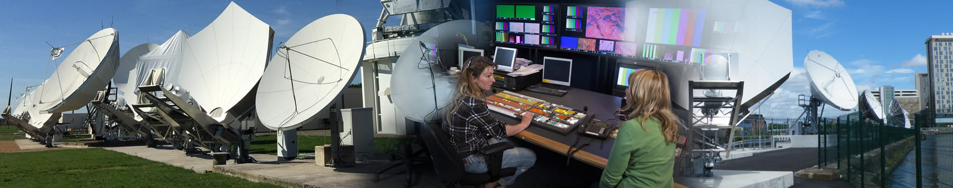 Satellite dishes at two teleports and girls working in a control room