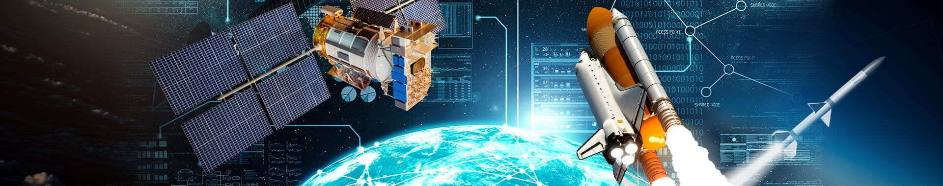 A montage conveying the Telemetry market with graphs and charts, a satellite and space shuttle over the Earth