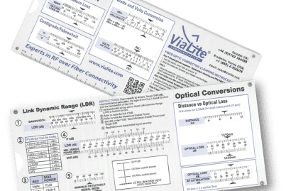 ViaLite's RF conversion calculator and optical conversions slide chart