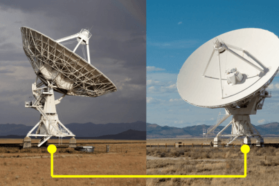 Two dishes connected by a Ka-Band diversity link