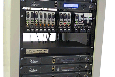 ViaLite equipment setup 3U rack chassis, EDFA and DWDM DCF module
