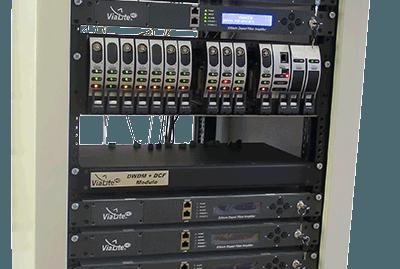 ViaLite equipment setup 3U rack chassis, EDFA and DWDM DCF module