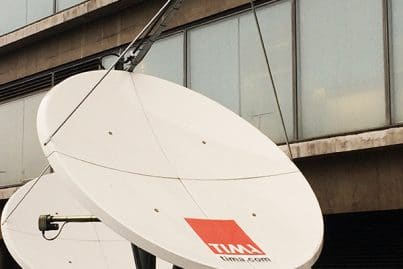 Satellite antenna at TIMA Reuters, London