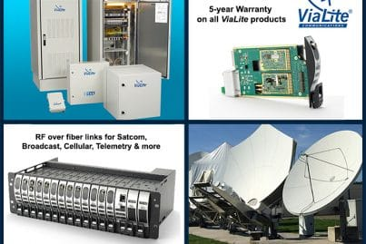 ViaLite 5-year warranty product group - shows ODE range, rack card, 3U rack chassis and also antenna dishes from a teleport