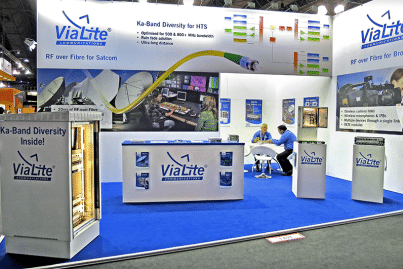 ViaLite's stand at IBC 2016 showing a Long Distance Link system, the Satcom6 enclosure and more