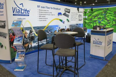 ViaLite's booth at NAB showcasing a Broadcast RF over fiber setup