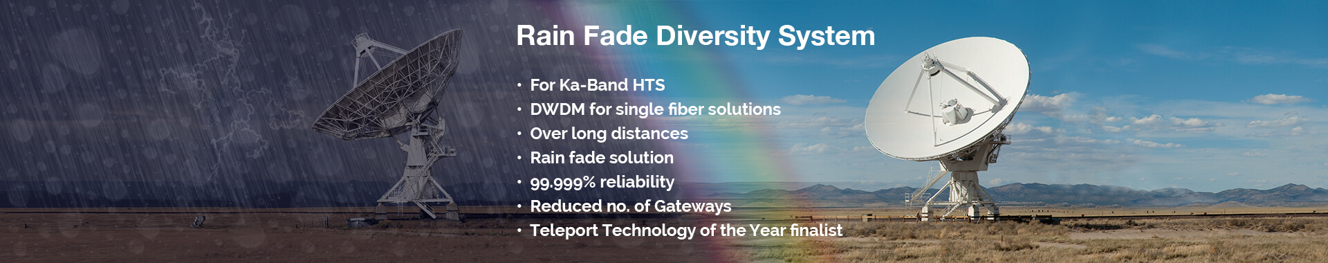 ViaLite Rain Fade Diversity System - for Ka-Band HTS, DWDM for single fiber, long distances, teleport technology of the year...