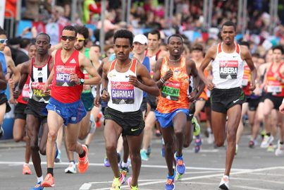 Elite male runners at the start of the London Marathon 2017. Image credit: Twocoms / Shutterstock.com