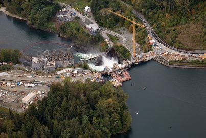 Aerial view of a water hydro station in Canada