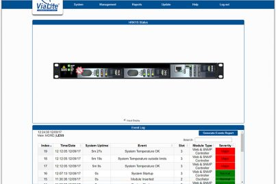 ViaLite Horizons SNMP GUI showing a 1U chassis