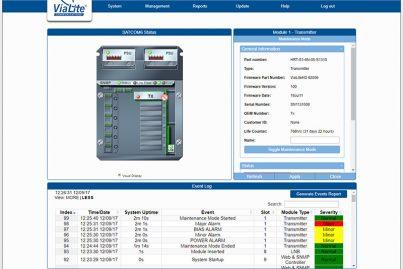 ViaLite Horizons SNMP GUI showing a Satcom6 enclosure