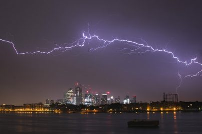 Lightning over Canary Wharf, London May 2018