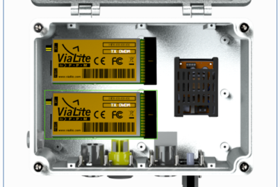 ViaLite's Site Controller showing yellow OEM links in the ODE-MINI (close-up)