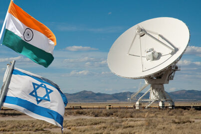 Flag of India and flag of Israel with satellite dish